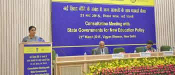 HRD minister @smritiirani addressed State teams for the National consultation process of New Education Policy