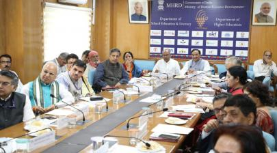The Union HRD Minister, Dr. Ramesh Pokhriyal 'Nishank' chairing a meeting on Research in Indian Traditional Knowledge Systems, in New Delhi on March 18, 2020
